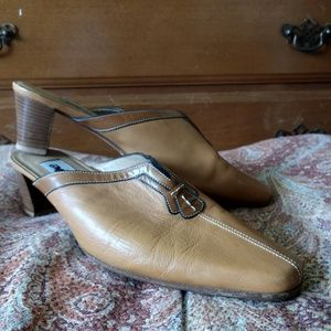 Mustard Leather Mules size 7.5 by Melluso